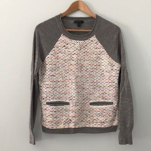 J crew Tweed-front merino sweater size small